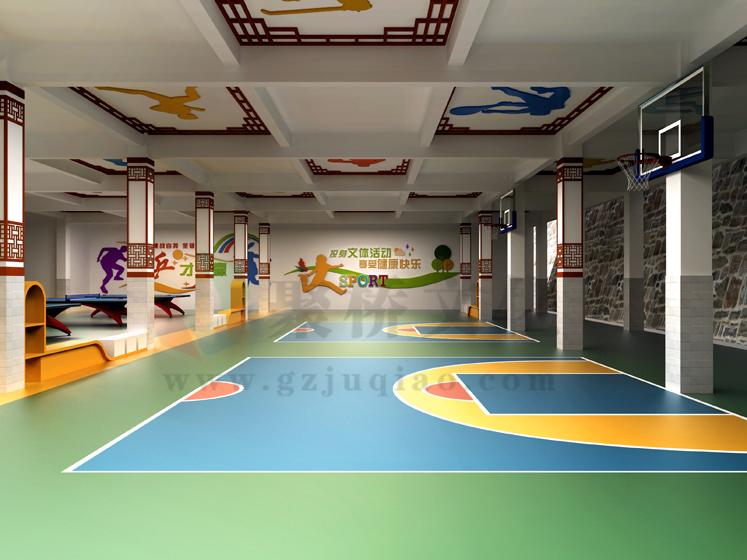 学校体育场架空层空间文化设计